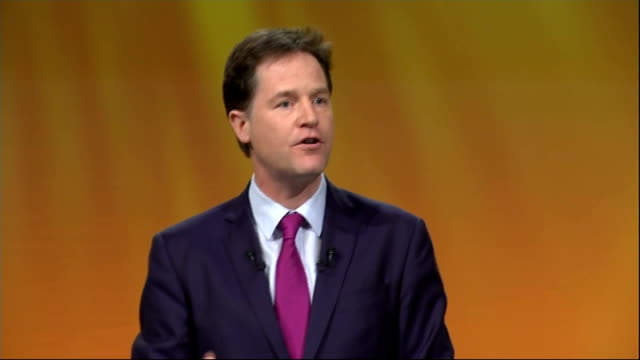 nick clegg speech clegg speech sot and make no mistake the recovery would not be happening without the liberal democrats the story of the last five... - conference phone stock videos & royalty-free footage