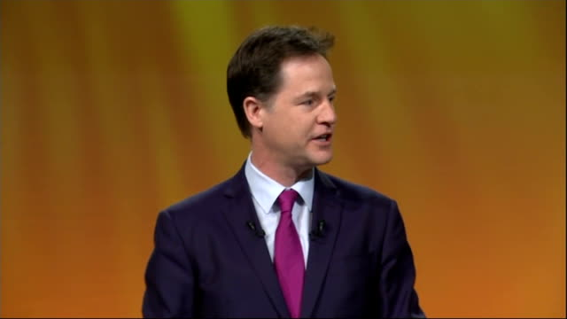 liberal democrats spring conference: nick clegg speech; england: merseyside: liverpool: int nick clegg mp onto stage to applause / nick clegg mp... - lionel richie stock videos & royalty-free footage