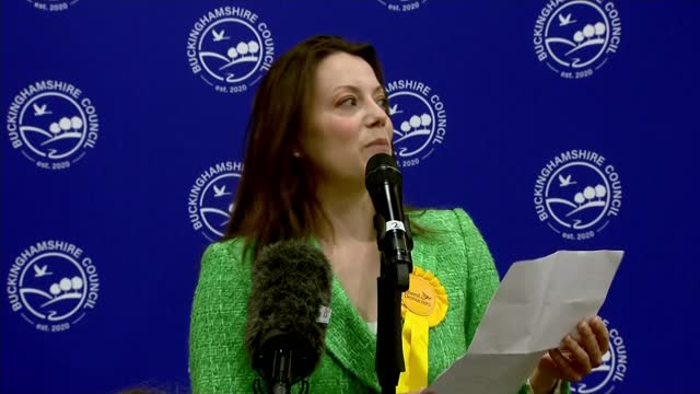 liberal democrats win chesham and amersham by-election; england: buckinghamshire: chesham: int sir ed davey mp standing in front of blue wall of... - wisdom stock videos & royalty-free footage