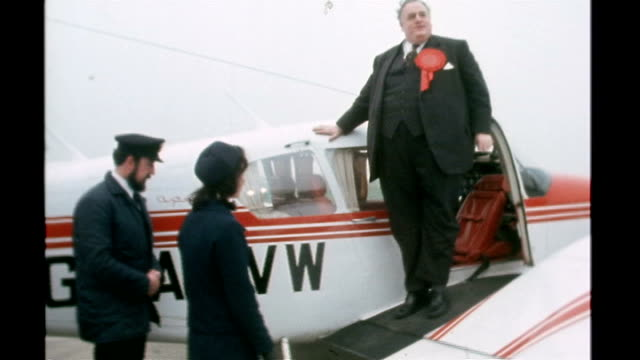 liberal politician cyril smith buried in rochdale tx smith disembarking from small cessna plane as saying 'time to go and get stuffed' sot int smith... - cyril smith politician stock videos & royalty-free footage