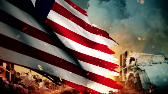 4k liberia flag - crisis / war / fire (loop) - kidnapping stock videos & royalty-free footage