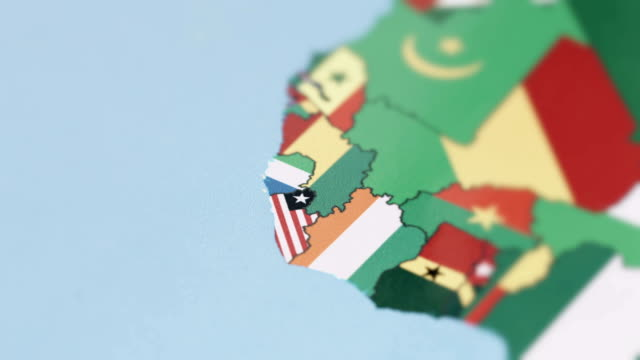 Liberia, Sierra Leone Borders with National Flag on World Map