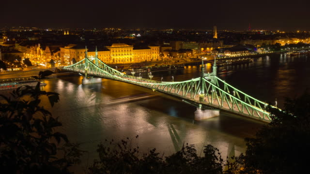 liberty bridge across the danube river in budapest, hungary, europe. - time-lapse - liberty bridge budapest stock videos & royalty-free footage