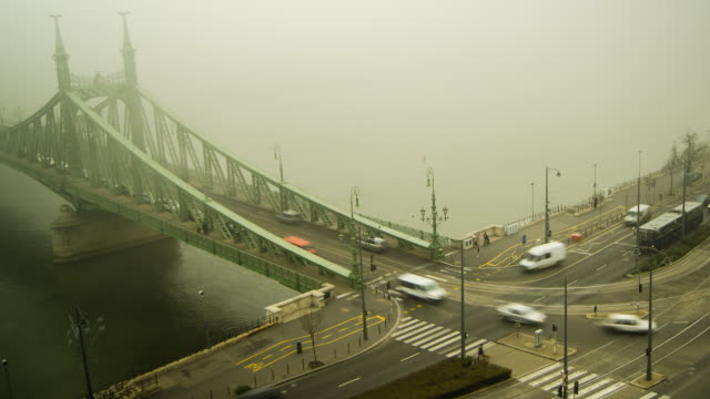 Liberty Bridge across the Danube River in Budapest, Hungary, Europe. - Time-Lapse