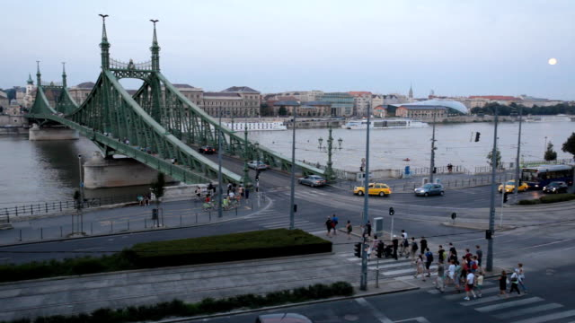 liberty bridge in budapest - liberty bridge budapest stock videos & royalty-free footage
