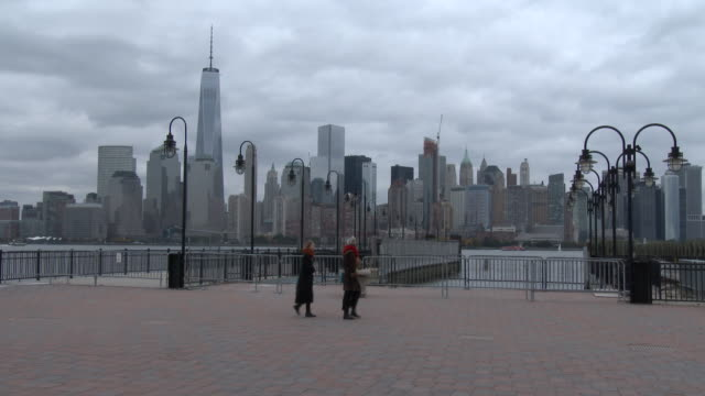 Liberty State Park, NJ - NYC, Lower Manhattan Skyline - Cloudy Autumn Day