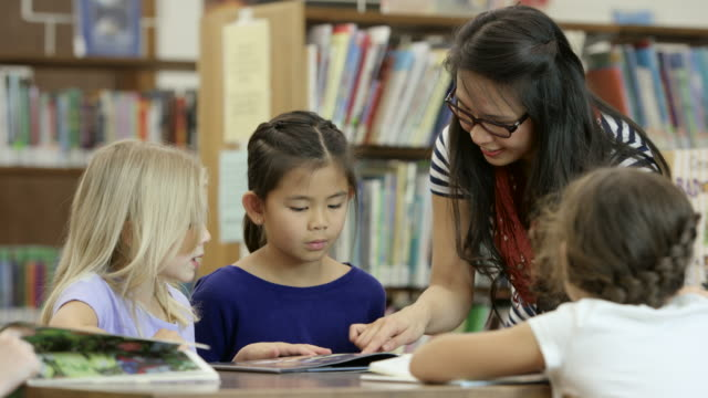 Librarian Helping Elementary Students