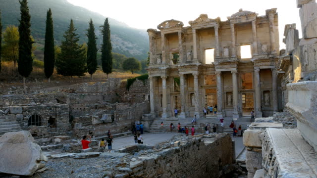 library of celsus in ephesus ancient city - izmir stock videos & royalty-free footage