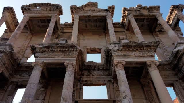 library of celsus in ephesus, izmir - column stock videos & royalty-free footage