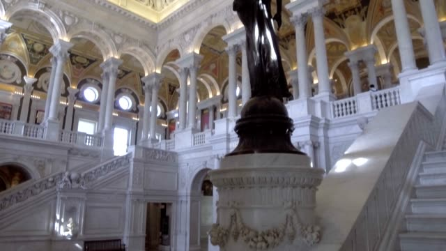 library of congress jefferson building great hall in washington, dc - thomas jefferson stock videos & royalty-free footage