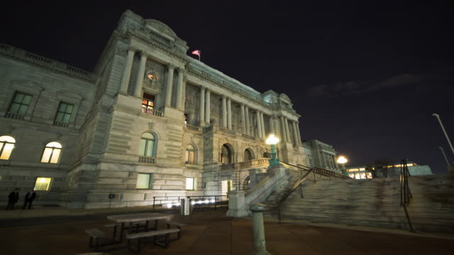library of congress time lapse night - reflecting pool washington dc stock videos & royalty-free footage