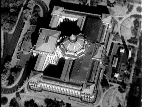 stockvideo's en b-roll-footage met 1935 b/w aerial library of congress / washington, united states / audio - 1935
