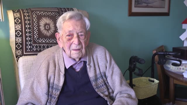 library on-camera interview and footage and recent telephone interview with bob weighton, the world's oldest man, who celebrates his 112th birthday... - video stock videos & royalty-free footage