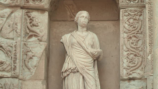 library statue, ephesus, turkey - classical greek style stock videos & royalty-free footage