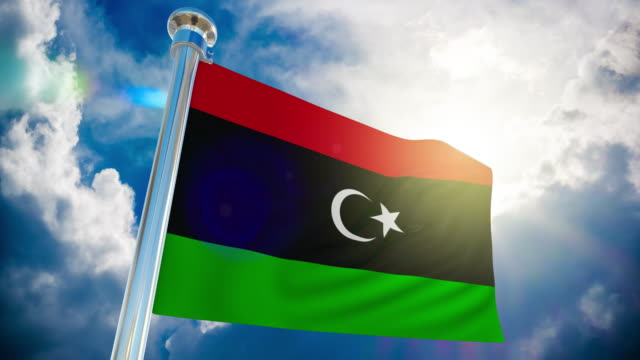 4k - libya flag | loopable stock video - libyan civil war stock videos & royalty-free footage