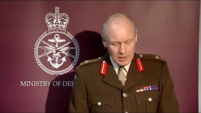 No Fly Zone Major General John Lorimer press conference ENGLAND London Whitehall INT Major General John Lorimer update on No Fly Zone operation over...