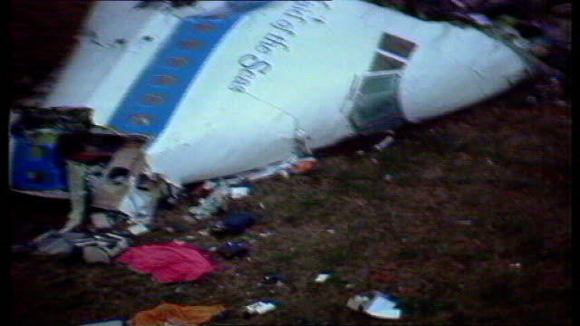 libyan convicted of lockerbie bombing launches new appeal december 1988 dumfries and galloway lockerbie of boeing 747 plane cockpit wreckage and... - dumfries and galloway stock videos & royalty-free footage