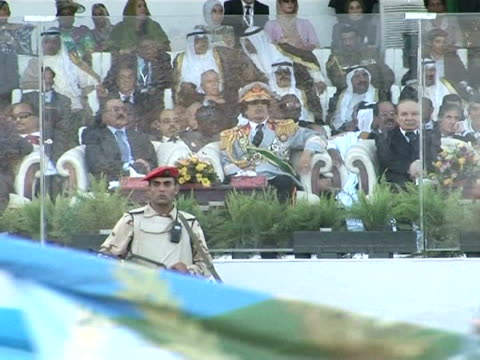 libyan leader moamer kadhafi marked the 40th anniversary on tuesday of the bloodless coup that brought him to power with celebrations attended by... - muammar gaddafi stock videos & royalty-free footage