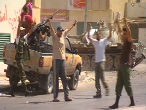 libyan rebels firing at gaddafi's forces zawiya august 2011 - az zawiyah stock videos & royalty-free footage
