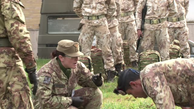 libyan recruits are being put through their paces at a boot camp in italy as part of an international programme to restore stability in country riven... - dictator stock videos and b-roll footage