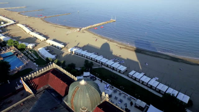 lido di venezia hotel excelsior aerial view - lido stock videos & royalty-free footage