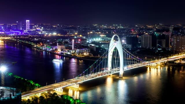 T/L  PAN WS Liede Bridge Aerial View at Night / Guangzhou, China
