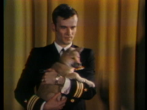 lieutenant commander edward davis shows off a puppy he brought home from vietnam. - press room stock videos & royalty-free footage