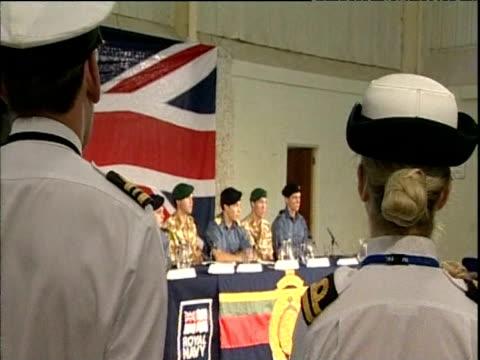 lieutenant felix carman royal navy seated with captain chris air royal marines at press conference describes his crew's treatment at hands of iranian... - 英国海兵隊点の映像素材/bロール
