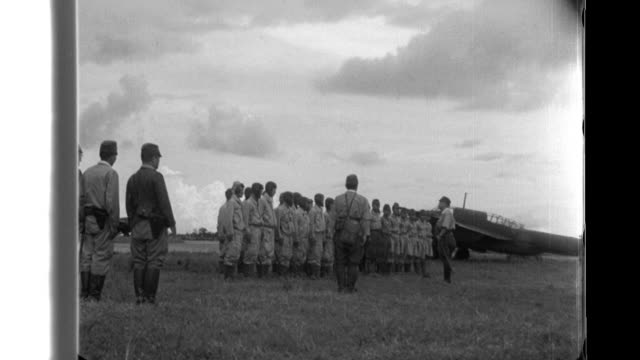 lieutenant general kyoji tominaga meets with imperial army pilots before a mission over the american airbase at clark field after the mission they... - japanese military stock videos & royalty-free footage
