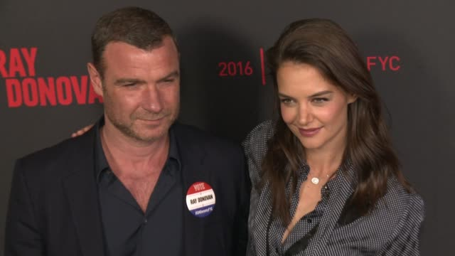 liev schreiber and katie holmes at for your consideration screening and panel for showtime's ray donovan red carpet at paramount theater on the... - katie holmes stock videos and b-roll footage