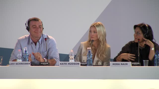 liev schreiber, kate hudson, mira nair at press conference arrivals: the reluctant fundamentalist: 69th venice film festival on august 29, 2012 in... - fundamentalism stock videos & royalty-free footage