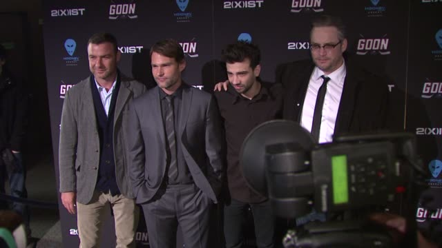 liev schreiber seann william scott and jay baruchel at 'goon' new york premiere on in new york city ny - jay baruchel stock videos and b-roll footage