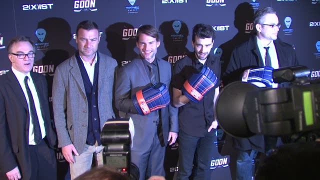 liev schreiber seann william scott jay baruchel and director michael dowse at 'goon' new york premiere on in new york city ny - jay baruchel stock videos and b-roll footage