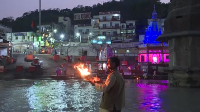 life is slowly returning to normal among the hallowed temples of haridwar one of hinduism's holiest places as india emerges from its coronavirus... - uttar pradesh stock videos & royalty-free footage