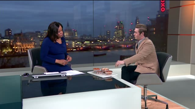 'Life Kitchen' initiative to help chemo patients ENGLAND London GIR INT Ryan Riley LIVE STUDIO interview SOT Food on tray