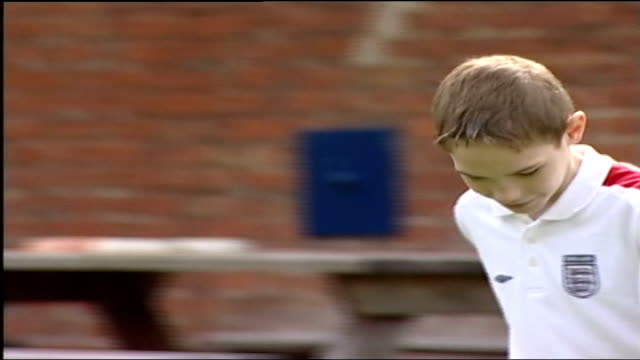 Thalidomide in childhood cancer trials ENGLAND Derbyshire EXT 12yearold Robert Wadsworth kicking football in garden