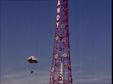 life savers candy parachute jump ride at ny world's fair life savers ride at ny world's fair on january 01, 1939 in new york, new york - new york world's fair stock videos & royalty-free footage