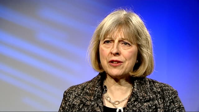 life sentences for traffickers in new slavery bill central london theresa may mp interview sot victims lie at the heart of everything we're doing /... - リチャード・パロット点の映像素材/bロール