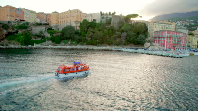 Lifeboat entering old port in Corsica