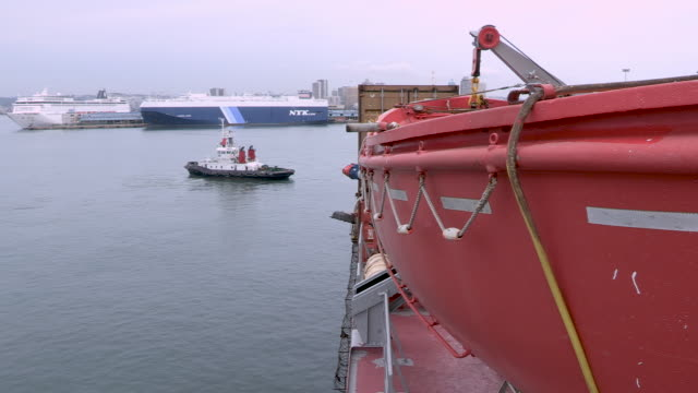 CU lifeboat on a container ship in a port
