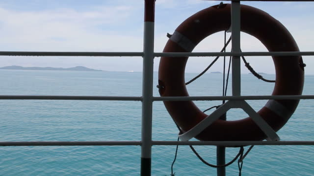 Lifebuoy with the sea background.
