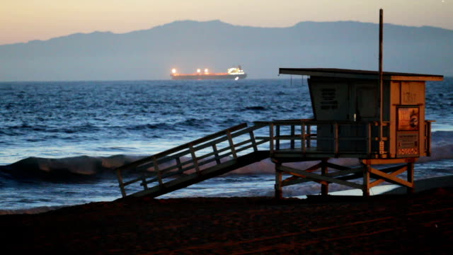 lifeguard at twilight - malibu stock videos & royalty-free footage