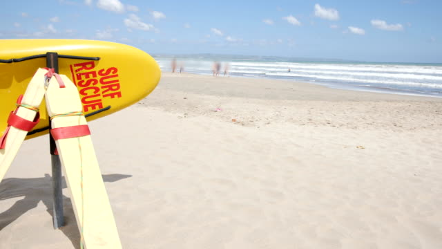 lifeguard sign at seminyak beach at bali, indonesia - first aid stock videos & royalty-free footage