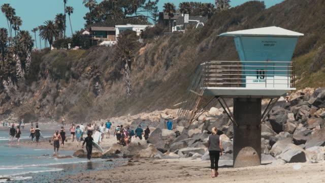 Lifeguard Station on Crowded California Beach