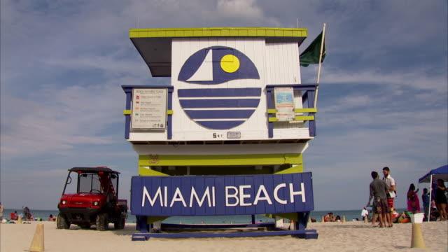 lifeguard station on miami beach, florida - miami beach stock videos & royalty-free footage
