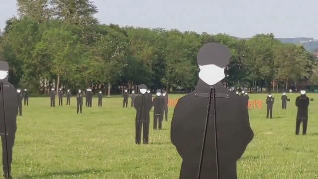 life-size cutouts of 300 nhs workers have been unveiled in south park, oxford to celebrate the staff's over the pandemic on july 21, 2021 in oxford,... - plain background stock videos & royalty-free footage