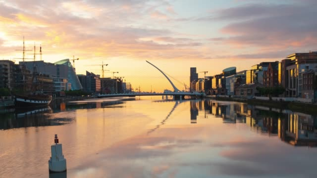 liffey river sunrise - time lapse - film composite stock videos & royalty-free footage
