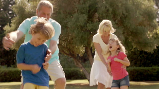 lift up shot of grandparents and grandchildren running together in garden. - grandson stock videos and b-roll footage