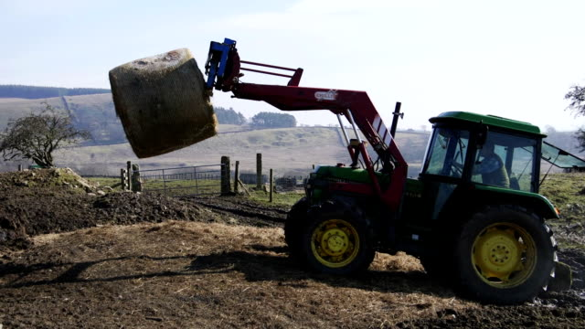 lifting a silage bale - agricultural equipment stock videos & royalty-free footage