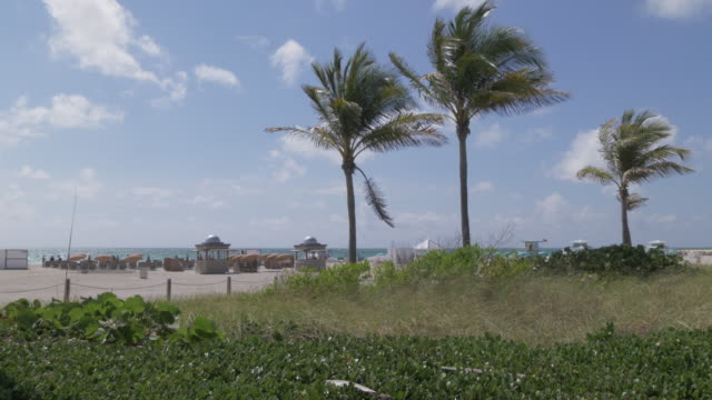 Lifting shot of beach huts from boardwalk, Miami Beach, South Beach, Miami, Florida, United States of America, North America